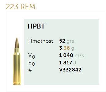 AMUNICJA SELLIER&BELLOT S&B 223 Rem. HPBT 3,36 g  / 52 grs