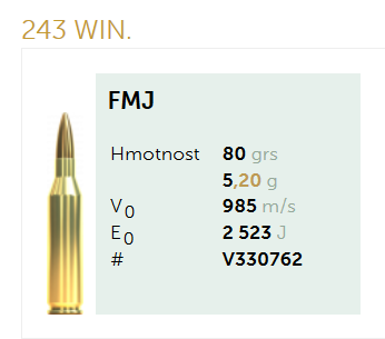 AMUNICJA SELLIER&BELLOT S&B 243 Win. FMJ 5,2 g  / 80 grs