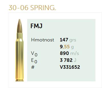 AMUNICJA SELLIER&BELLOT S&B 30-06 SPRING. FMJ 9,55 g  / 147 grs