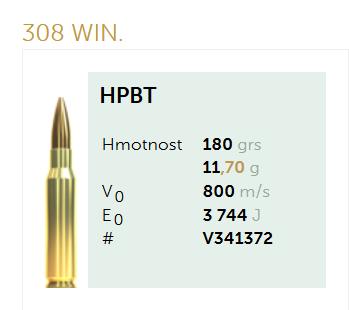 AMUNICJA SELLIER&BELLOT S&B 308 Win. HPBT 11,7 g  / 180 grs