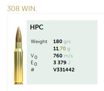 AMUNICJA SELLIER&BELLOT S&B  308 Win. HPC 11,7 g  / 180 grs