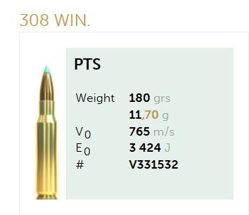AMUNICJA SELLIER&BELLOT S&B 308 Win. PTS 11,7 g  / 180 grs