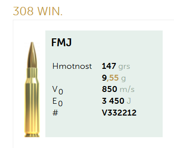 AMUNICJA SELLIER&BELLOT S&B 308Win. FMJ 9,55 g  / 147 grs