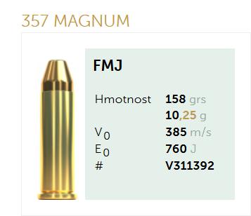 AMUNICJA PISTOLETOWA SELLIER&BELLOT S&B  357 Magnum FMJ 158 grs  10,25 g
