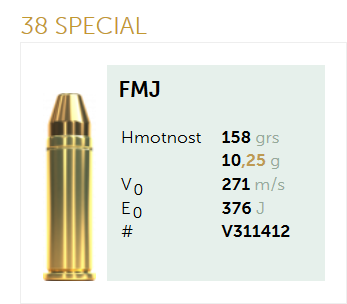 AMUNICJA PISTOLETOWA SELLIER&BELLOT S&B  38 SPECIAL FMJ 158 grs 10,25 g