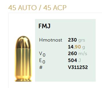 AMUNICJA PISTOLETOWA SELLIER&BELLOT S&B  45AUTO 45ACP FMJ 230 grs 14,90 g