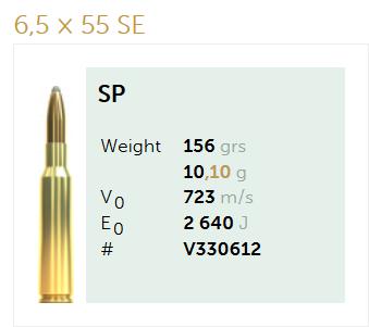 AMUNICJA SELLIER&BELLOT S&B  6,5×55 SE SP 10,1 g  / 156 grs