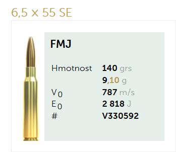 AMUNICJA SELLIER&BELLOT S&B 6,5x55SE FMJ : 9,1 g  / 140 grs
