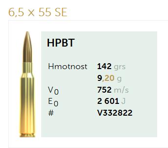AMUNICJA SELLIER&BELLOT S&B 6,5x55SE  HPBT 7,5 g  / 142 grs