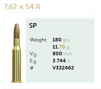 AMUNICJA SELLIER&BELLOT S&B  7,62x54R SP 11,7g  / 180 grs