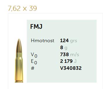 AMUNICJA SELLIER&BELLOT S&B 7,62×39 FMJ 8,0 g  / 124 grs