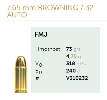 AMUNICJA PISTOLETOWA SELLIER&BELLOT S&B  7,65 mm BROWNING  32 AUTO FMJ 73 grs 4,75  g