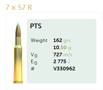 AMUNICJA SELLIER&BELLOT S&B 7×57 R PTS 10,5 g  / 162 grs