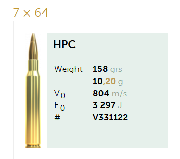 AMUNICJA SELLIER&BELLOT S&B  7×64 HPC 10,2 g  / 158 grs