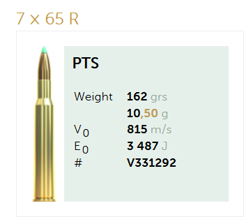 AMUNICJA SELLIER&BELLOT S&B 7×65 R PTS 10,5 g  / 162 grs