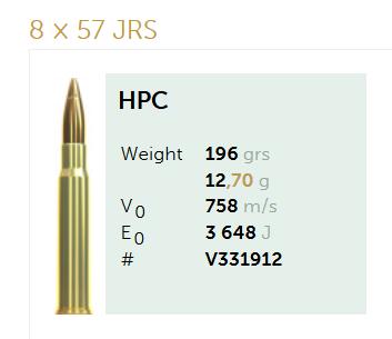 AMUNICJA SELLIER&BELLOT S&B  8×57 JRS HPC 12,7 g  / 196 grs