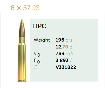 AMUNICJA SELLIER&BELLOT S&B  8×57 JS HPC 12,7 g  / 196 grs