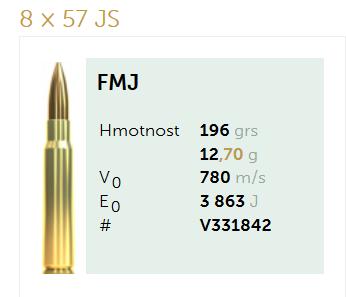 AMUNICJA SELLIER&BELLOT S&B 8x57JS FMJ 12,7 g  / 196 grs