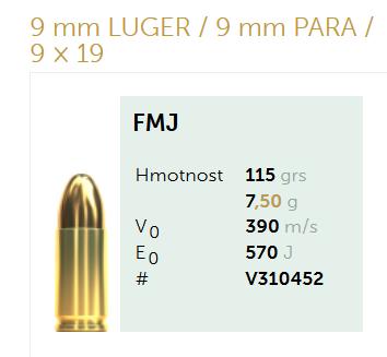 AMUNICJA PISTOLETOWA SELLIER&BELLOT S&B  9 mm LUGER  9 mm PARA  9 × 19 FMJ 115 grs 7,5 g