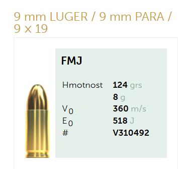 AMUNICJA PISTOLETOWA SELLIER&BELLOT S&B  9 mm LUGER  9 mm PARA  9 × 19   124 grs 8,0  g