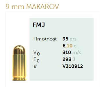 AMUNICJA PISTOLETOWA SELLIER&BELLOT S&B  9 mm MAKAROV FMJ 95 grs 6,1 g
