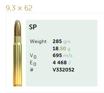 AMUNICJA SELLIER&BELLOT S&B  9,3×62 SP  18,5g  / 285 grs