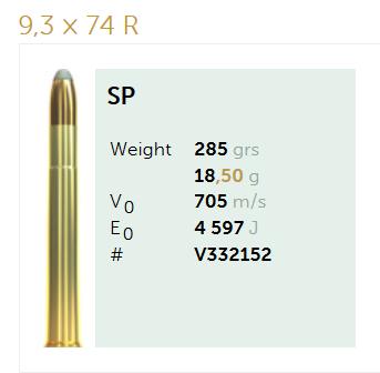AMUNICJA SELLIER&BELLOT S&B  9,3x74R SP 18,5 g  / 285 grs